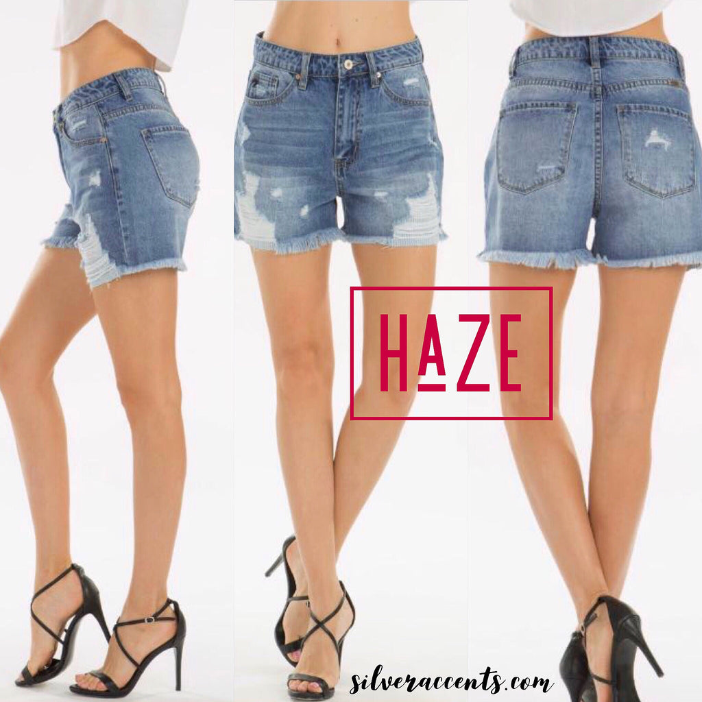 HAZE HiRise Patch FrayHem Denim Short