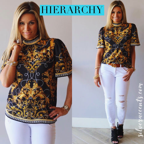 HIERARCHY Baroque Border Floral SmockNeck ShortSleeve Top