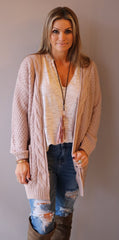 RALLY CableKnit Trim Textured Open Cardigan Sweater Top