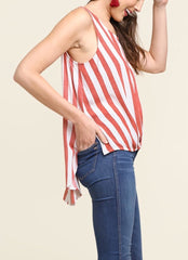 Red PATRIOT Stripe Knot Front Sleeveless Top
