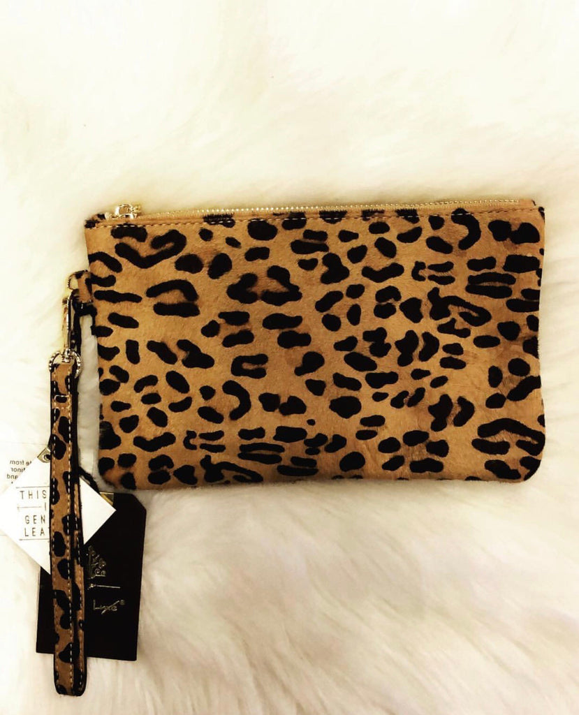 OLIVIA Leopard PonyHair Zip Clutch Bag
