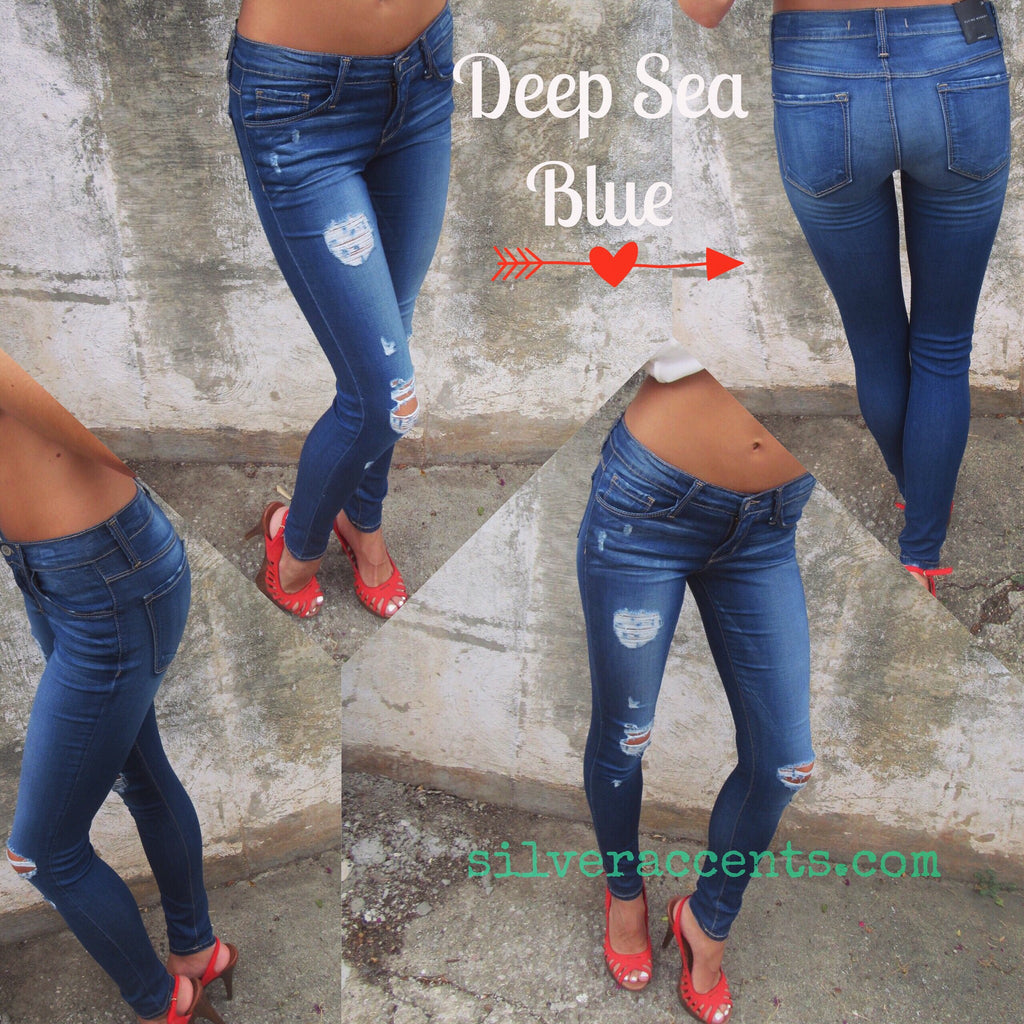 FLYING MONKEY Distressed DEEP SEA BLUE Jegging Jeans