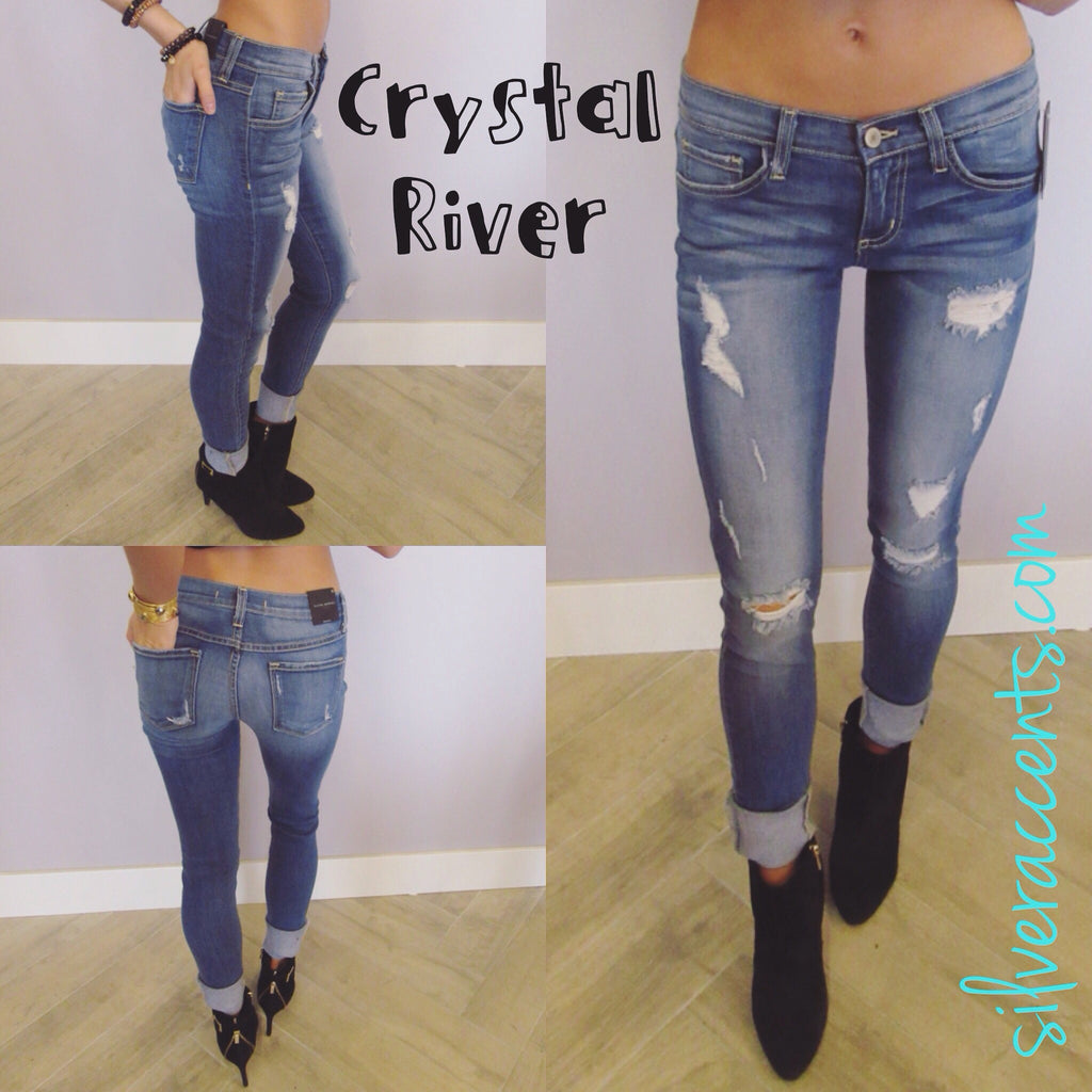 FLYING MONKEY Distressed CRYSTAL RIVER Skinny Jeans