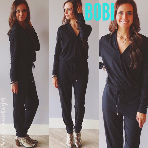 BOBI Draped Modal Jersey HOPE Surplice V-Neck Jumpsuit Pant Romper