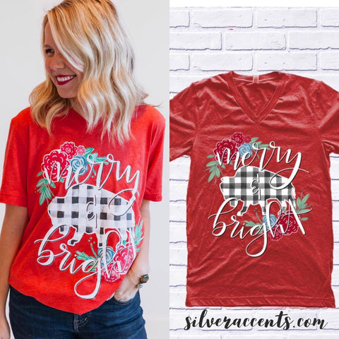 MERRY & BRIGHT Buffalo Plaid/Floral V-Neck TriBlend Top