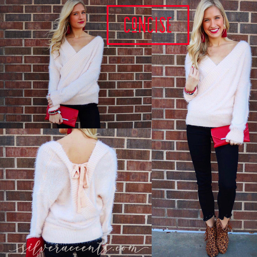 CONCISE FuzzyKnit CrossOver TieBack Sweater