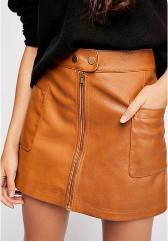 FREE PEOPLE High Waist A-LINE Vegan Leather Skirt