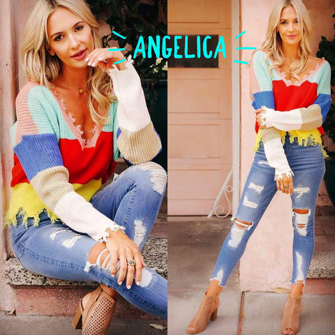 ANGELICA ColorBlock Stripe Fray Edge V-Neck Sweater Top