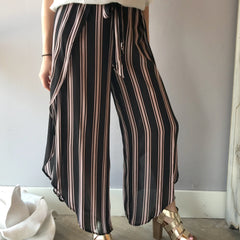STRAIGHT UP Vertical Stripe Wrapped Pants