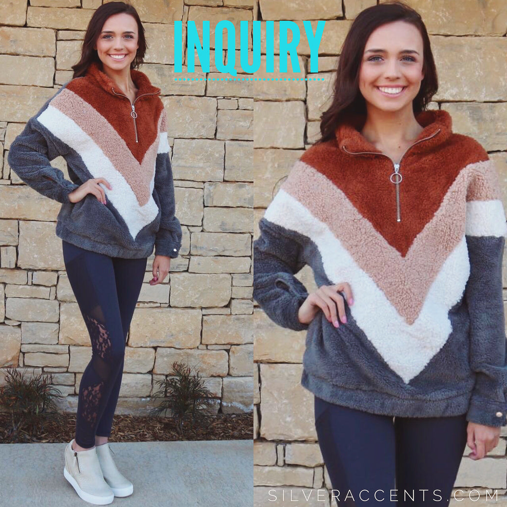INQUIRY Fuzzy ColorBlock Chevron HalfZip Sherpa Pullover Top