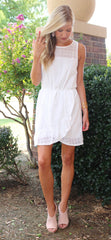 PROSE Eyelet Lace Ruffle Wrap Hem Dress