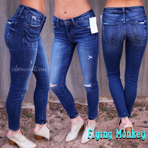FLYING MONKEY MidRise JET SET BLUE Distressed TackBottom Skinny Jean
