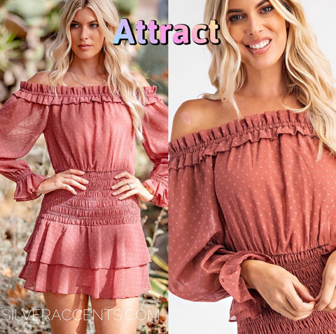 ATTRACT SwisssDot OffShoulder Smocked Ruffle Dress