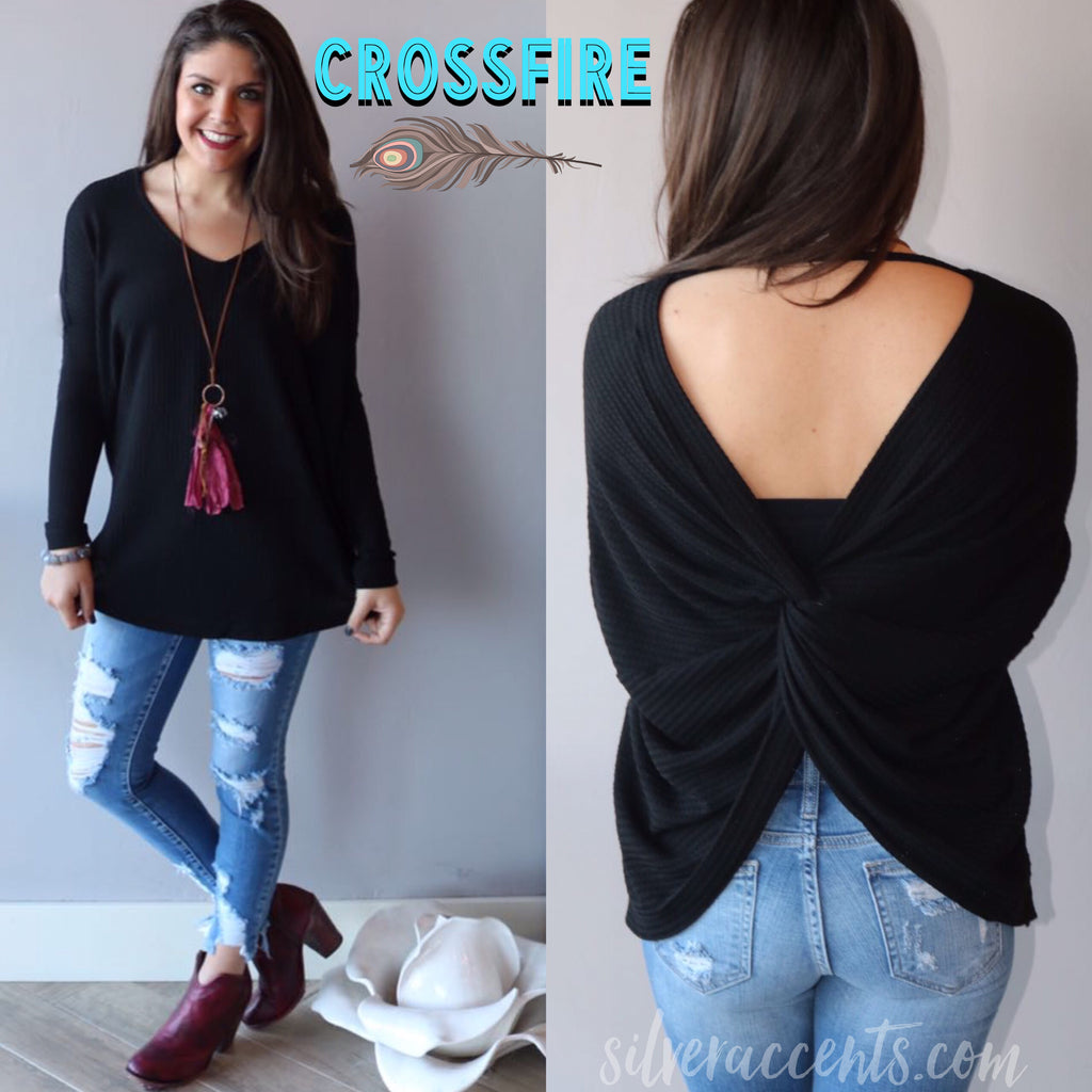 CROSSFIRE WaffleKnit X-Back Top