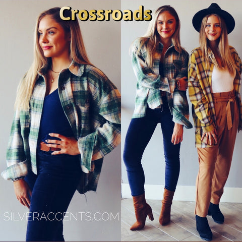 CROSSROADS Plaid FrayHem WaistCrop Jacket