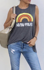 GOOD VIBES Graphic Tee Print Tank Top