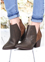 NOT RATED Tan TARIM Snakeskin Trim PullOn Bootie Shoe