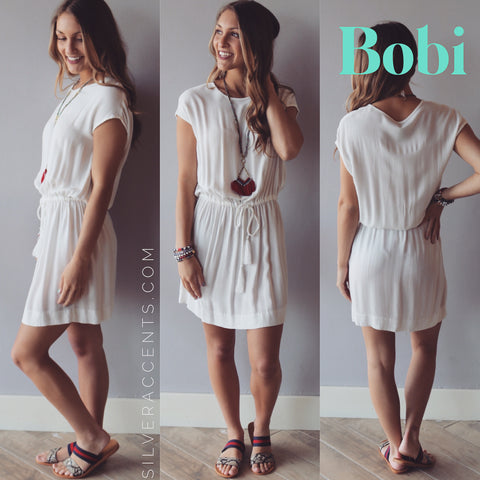 BOBI Beach Crepe SEASIDE DrawstringWaist Dress