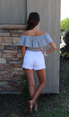 GAUNTLET Stripe Ruffled OffShoulder SmockBottom Woven Top