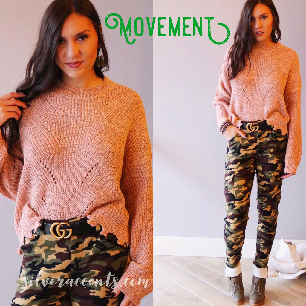 MOVEMENT Distressed MockNeck RawEdge Pullover Sweater Top