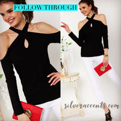 FOLLOW THROUGH Halter KeyHole Front RibKnit Top