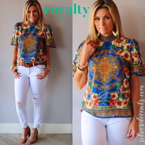 ROYALTY Floral/Medallion Print SmockHiNeck ShortSleeve Top