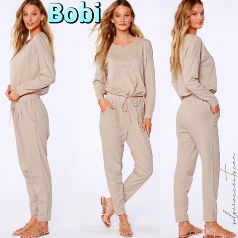 BOBI Sustainable Terry WHISTLE SlubKnit DrawString Hem Top