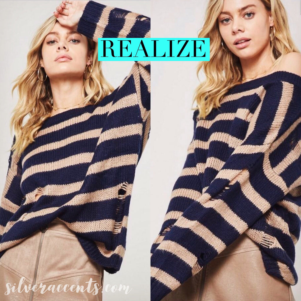 REALIZE ColorBlock Stripe Distressed Slouchy Sweater Top