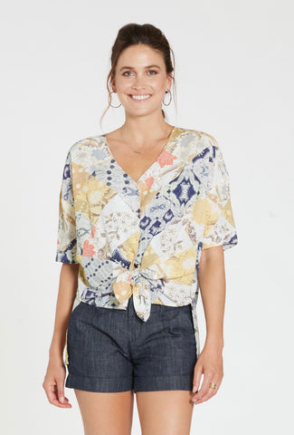 DEAR JOHN Patchwork BETTY Tie Front Top