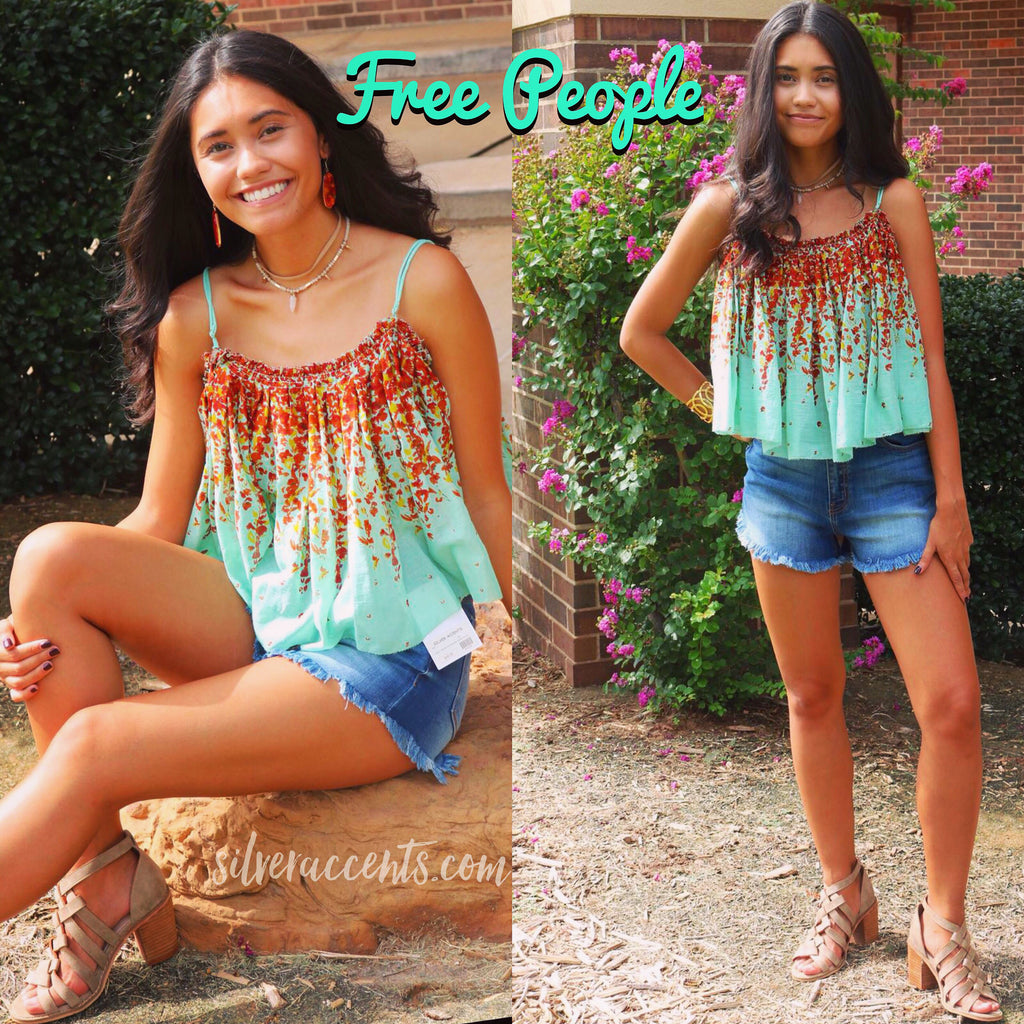 FREE PEOPLE Robins Egg INSTANT CRUSH Floral Cami Swing Top