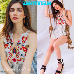 AMSTERDAM Stripe Embroidered Needlepoint Floral SplitNeck Halter Top