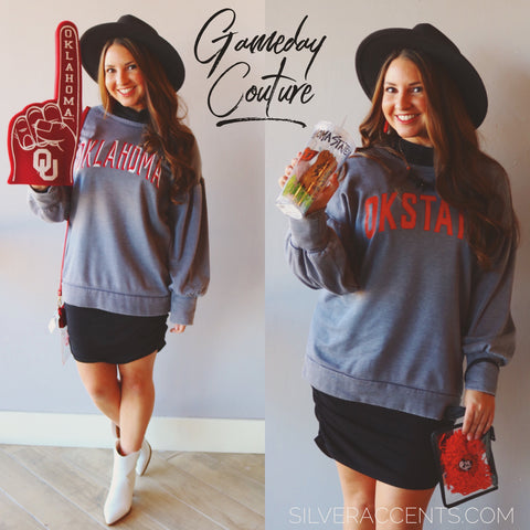 GAMEDAY COUTURE Oklahoma GOOD GOING Bishop Sleeve MineralWash Fleece Top