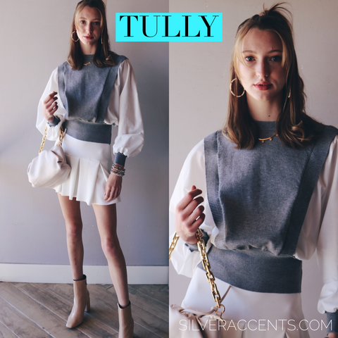 TULLY BalloonSleeve MixMedia Poplin/Sweater Top