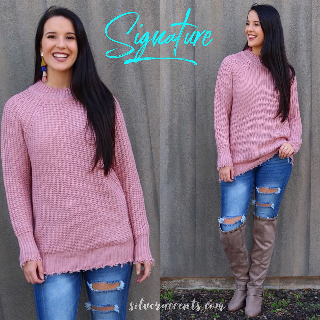 SIGNATURE Distressed RibKnit Tunic Sweater Top