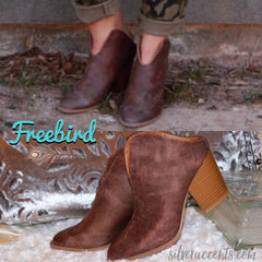 Distressed FREEBIRD OpenBack Mule Bootie Shoes