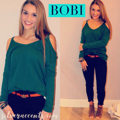 BOBI Slub Jersey STRANDS ColdShoulder Top