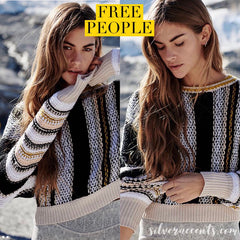 FREE PEOPLE Stripe SHOW ME LOVE WaistCrop Sweater