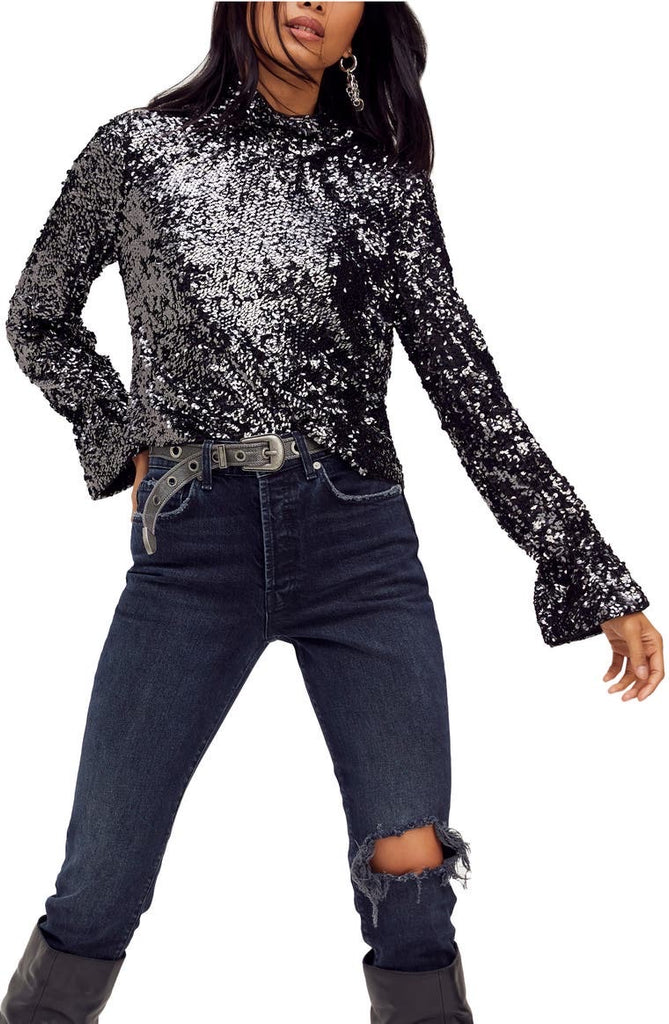 FREE PEOPLE Sequin MOONSTRUCK HiNeck Cowl-back Top