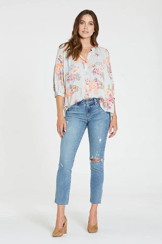 DEAR JOHN Floral AUDREY Balloon~Sleeve ButtonDown Top