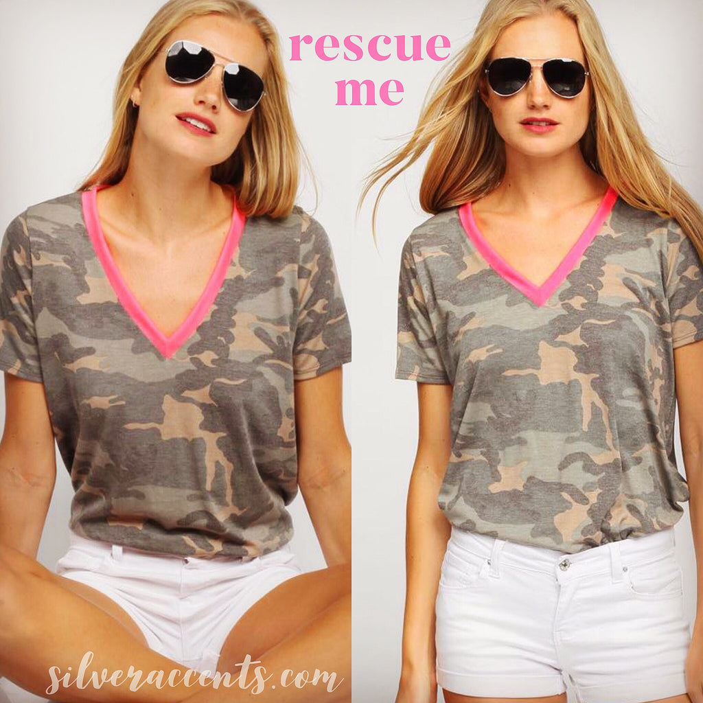 RESCUE ME Camouflage Neon Trim V-Neck Tee Top