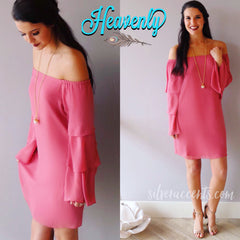 HEAVENLY OffShoulder TierSleeve Chiffon Sheath Dress