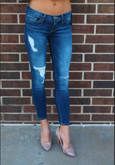 FLYING MONKEY Distressed GEM BLUE Ankle Skinny Jeans