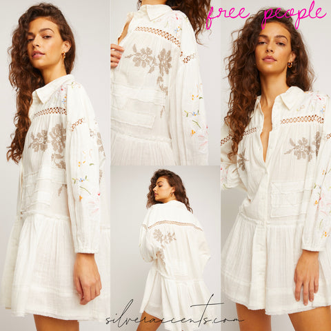 FREE PEOPLE Embroidered Patchwork LOUISA Mini Dress