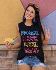 PEACE LOVE BEER TACO Graphic Tank Top