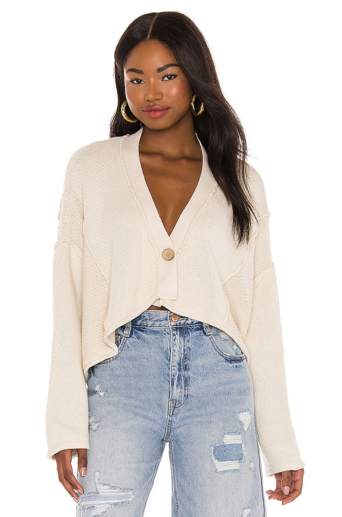 FREE PEOPLE One Button TERA Patch Cardigan Top