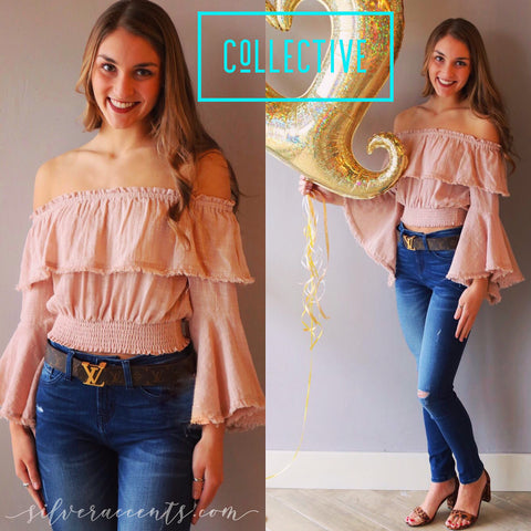 COLLECTIVE Ruffled OffShoulder Fringehem TrumpetSleeve SmockWaist Top