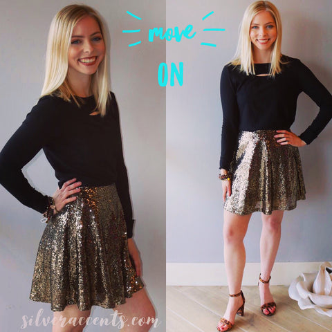 MOVE ON Sequin Flare Skirt