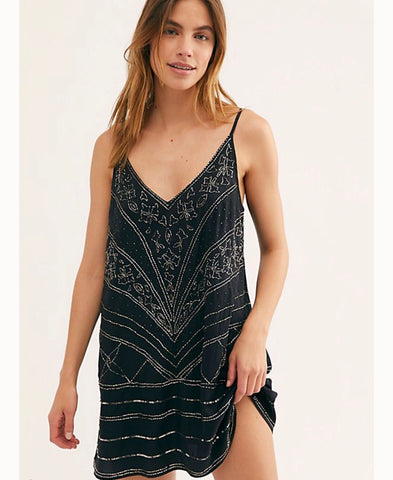 FREE PEOPLE Sequin MAKE A MOVE Mini Slip Dress