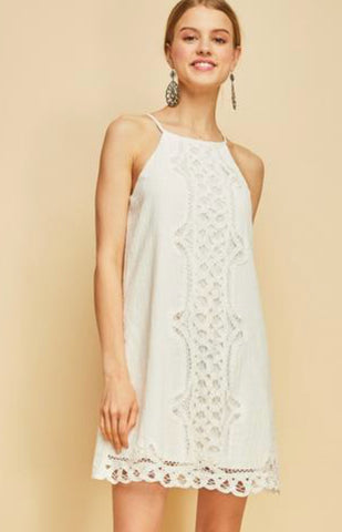 ADVERSAY Crochet Trim Hi Neck Dress