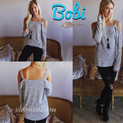 BOBI LoungeKnit HARDWIRED OffShoulder Strap SuperSoft Knit Top